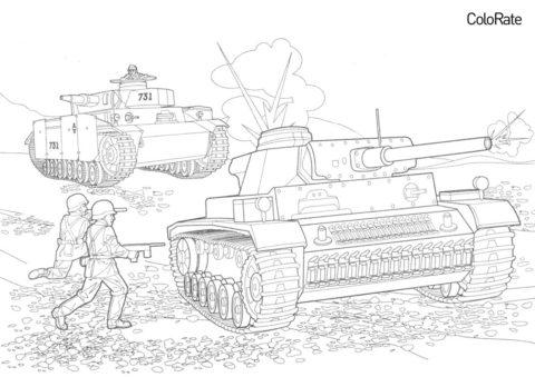 Военные бесплатная разукрашка - Танк III и огнемётный танк Panzerkampfwagen III