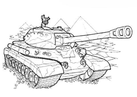 Танк ИС-4 (СССР) (Танки) разукрашка для печати на А4