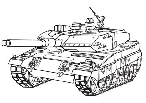 Танк Леопард 2 (Германия) распечатать и скачать раскраску - Танки