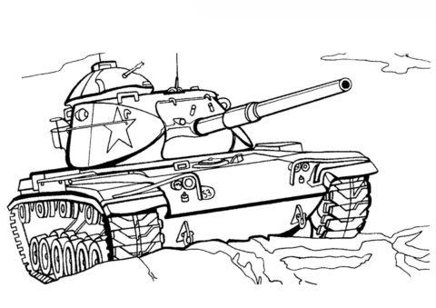 Танк М60 А1 (США) разукрашка скачать и распечатать - Танки