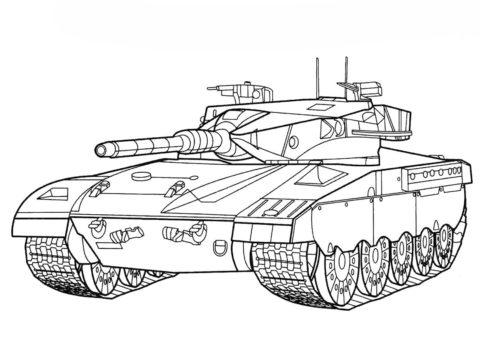 Бесплатная раскраска Танк Меркава (Израиль) распечатать на А4 - Танки