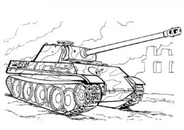Танк PzKpfw V - Пантера (Германия) распечатать и скачать раскраску - Танки