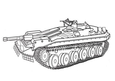 Танк Stridsvagn 103b (Швеция) раскраска распечатать бесплатно на А4 - Танки