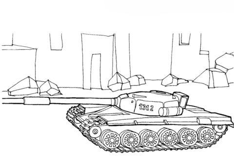Танки бесплатная раскраска - Танк Т-72