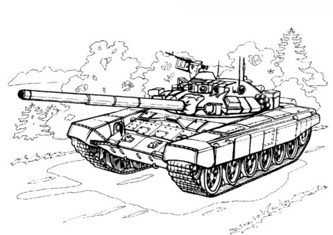 Разукрашка Танк Т-90С (Россия) распечатать на А4 - Танки