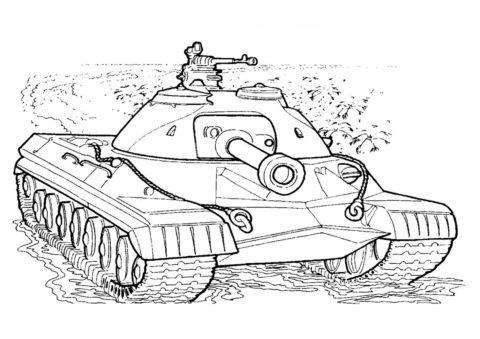 Разукрашка Танк Т10 (СССР) распечатать на А4 - Танки