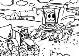 Распечатать раскраску Техника за работой - Трактора