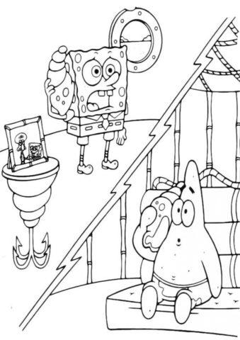 Телефонный разговор распечатать раскраску - Губка Боб