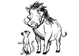 Тимон и Пумба - Король Лев бесплатная раскраска