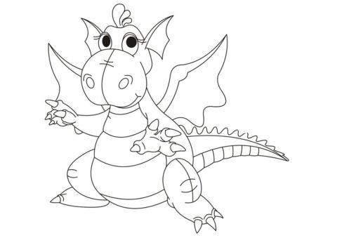 Толстый дракоша разукрашка скачать и распечатать - Драконы