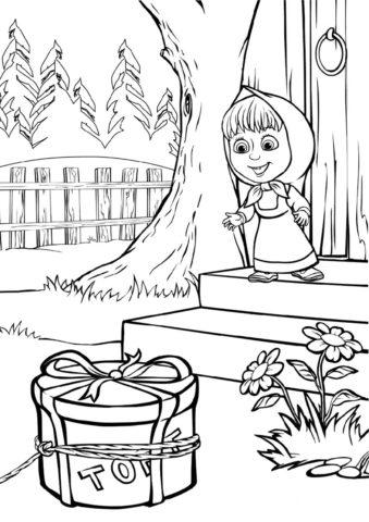 Тортик для Машеньки (Маша и Медведь) бесплатная раскраска