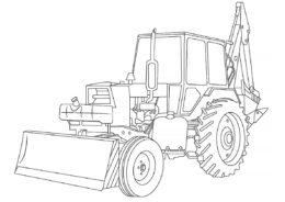 Трактор с ковшом и лопатой раскраска распечатать и скачать - Трактора