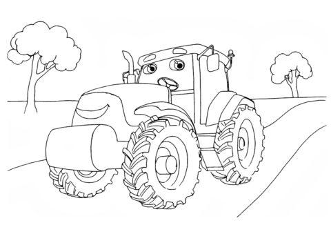 Трактора распечатать раскраску - Трактор в парке