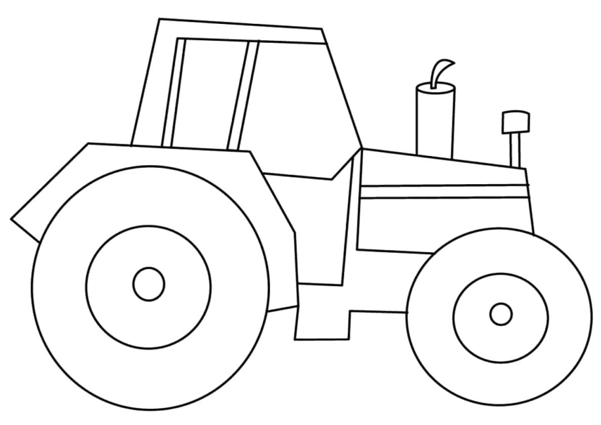 Раскраска Трактор в профиль распечатать | Трактора