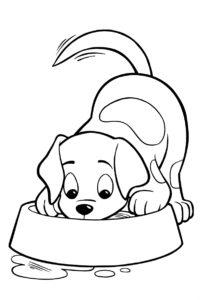 Трапеза далматинца - Собаки и щенки бесплатная раскраска