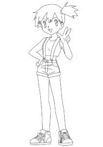 Тренер Мисти - Покемоны бесплатная раскраска