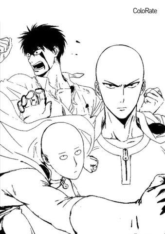 Три лица Сайтамы распечатать разукрашку бесплатно - Ванпанчмен