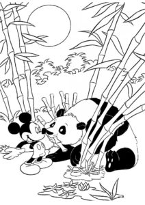 Тростниковый лес разукрашка скачать и распечатать - Микки Маус