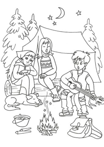 Раскраска Туристы поют у костра - Лето