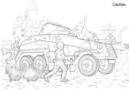 Тяжёлый бронеавтомобиль Sd. KFZ 231 - Военные бесплатная раскраска