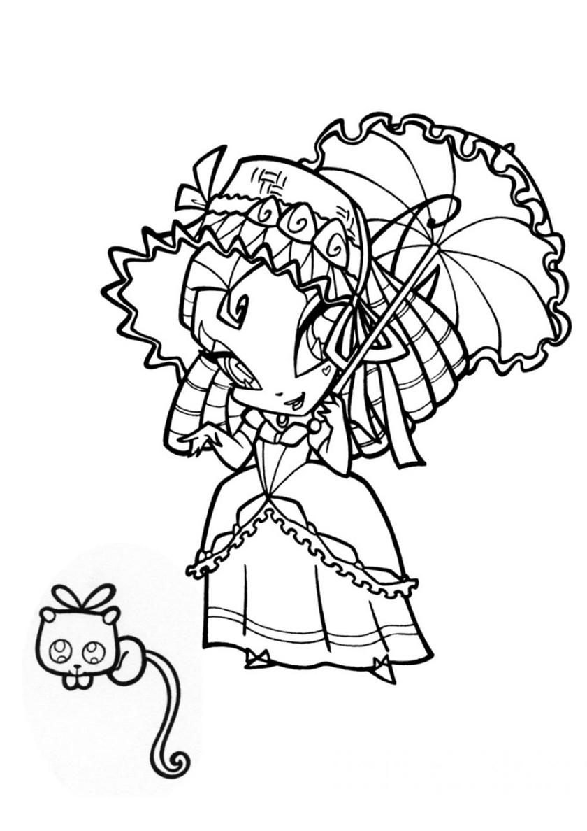 Раскраска Тьюн и котенок распечатать | Винкс / Winx