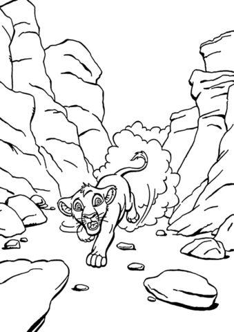 Убегающий Симба раскраска распечатать на А4 - Король Лев