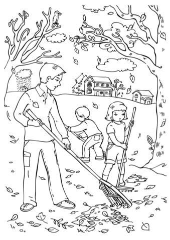 Раскраска Уборка в осеннем парке распечатать и скачать - Осень