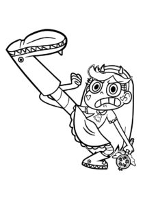 Разукрашка Удар от Баттерфляй распечатать на А4 - Стар против сил зла