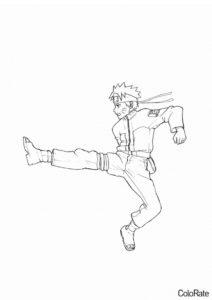 Удар в прыжке раскраска распечатать и скачать - Наруто