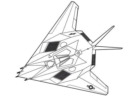 Ударный самолет F-117 Nighthawk (Самолеты) распечатать раскраску