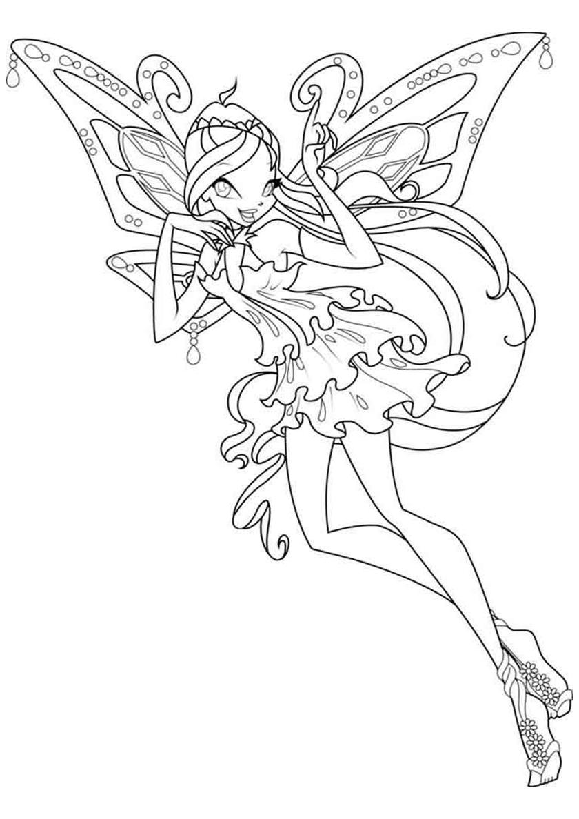 Раскраска Удивительная фея распечатать | Блум