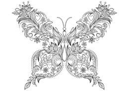 Бабочки бесплатная раскраска распечатать на А4 - Удивительный узор