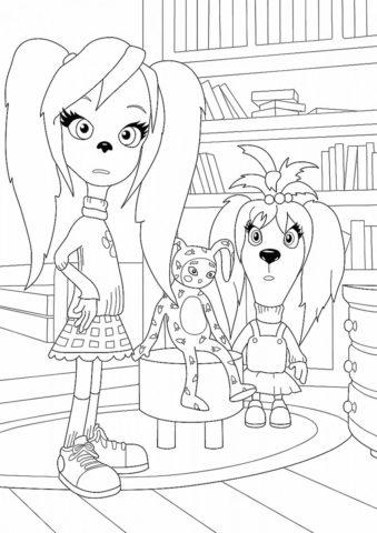 Удивление Лизы и Розы (Барбоскины) раскраска для печати и загрузки
