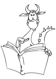 Удивленный дракон с книжкой (Драконы) распечатать бесплатную раскраску