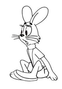 Удивленный заяц - Ну, погоди! раскраска распечатать на А4