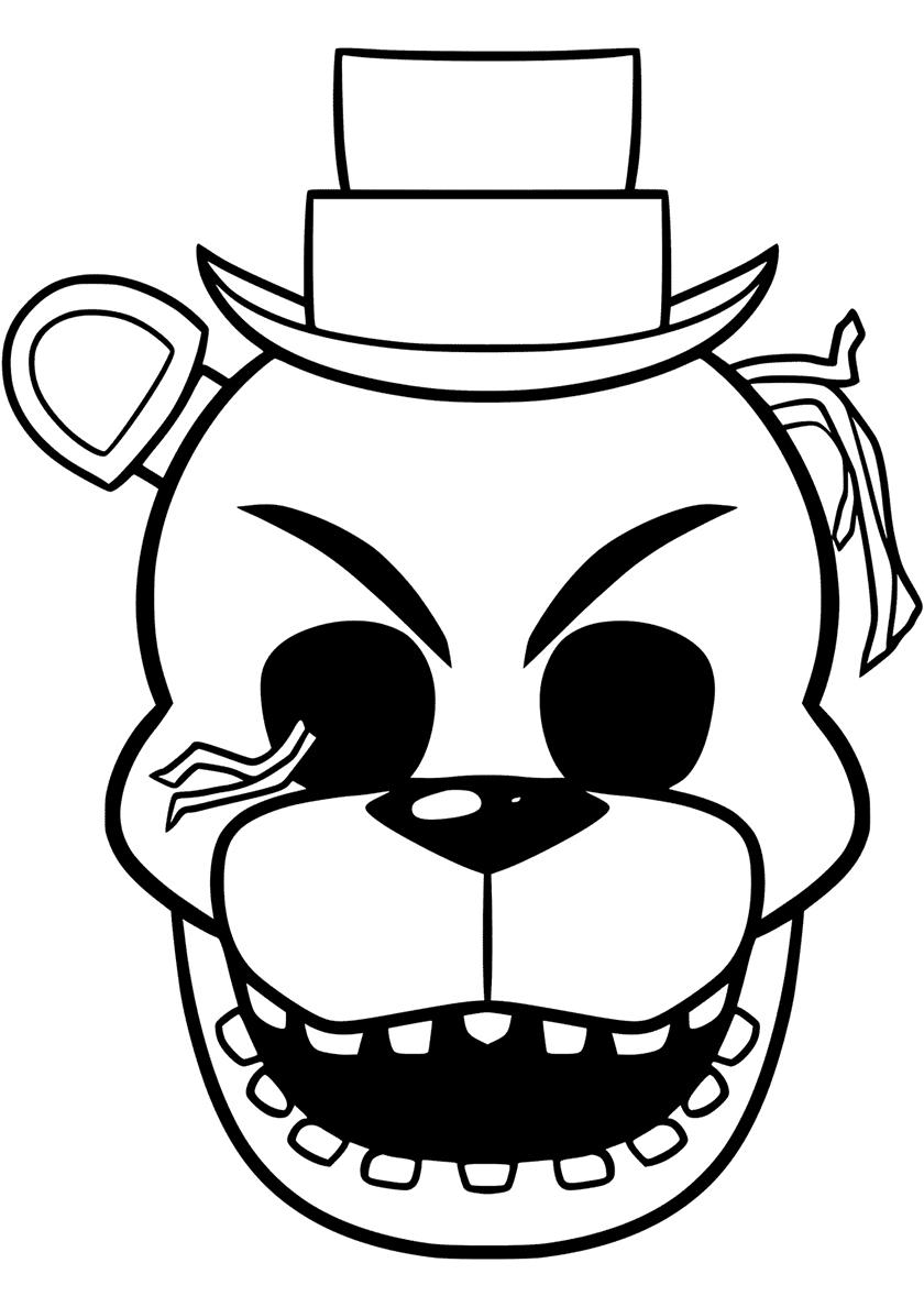 Раскраска Ужасная маска Фредди распечатать | ФНАФ и ...