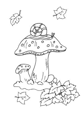 Улитка на грибе распечатать раскраску - Осень