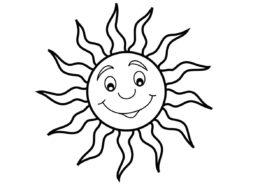 Улыбающееся солнце (Лето) распечатать разукрашку