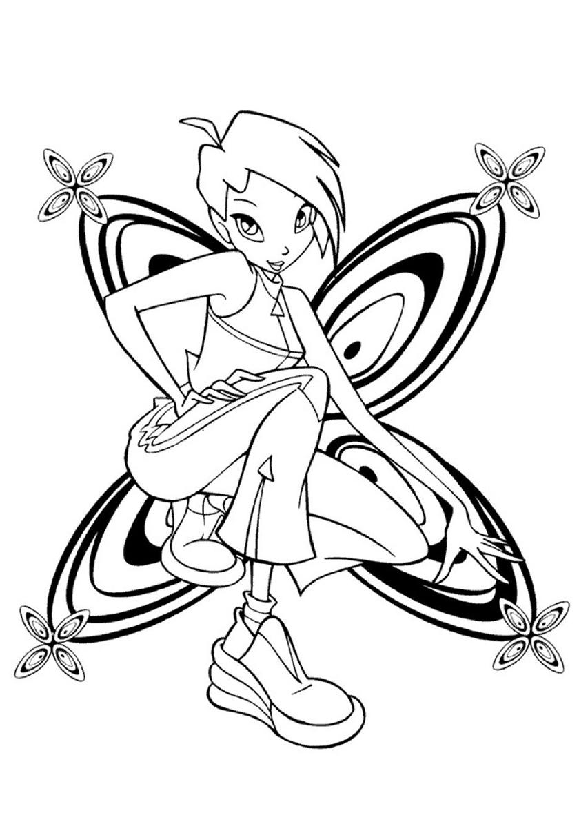 Раскраска Улыбчивая фея Винкс распечатать | Текна