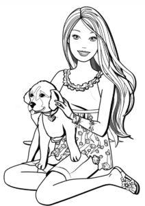 Улыбчивая хозяйка и её щенок распечатать раскраску - Собаки и щенки