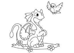 Улыбчивый дракончик с птичкой (Драконы) разукрашка для печати на А4