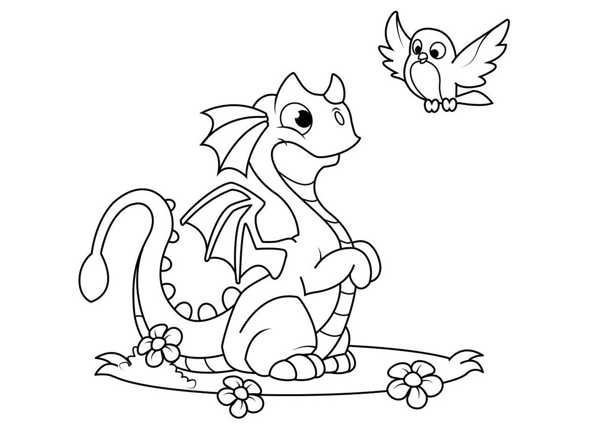 Раскраска Улыбчивый дракончик с птичкой распечатать | Драконы