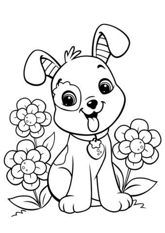 Улыбчивый щенок среди цветов - Собаки и щенки раскраска распечатать на А4