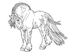Бесплатная раскраска Уникальный мустанг распечатать на А4 - Лошади и пони