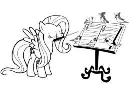 Раскраска Уроки музыки от пони распечатать на А4 - Флаттершай