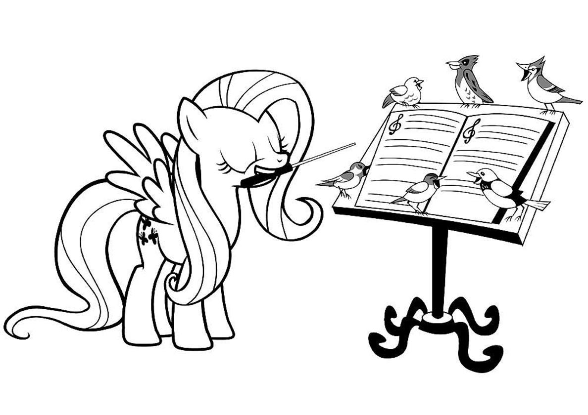 Раскраска Уроки музыки от пони распечатать | Флаттершай