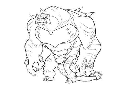 Раскраска Уставший Гумангозавр распечатать на А4 - Бен 10