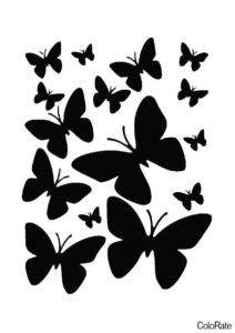 Трафарет Узор из нескольких бабочек распечатать на А4 - Трафареты бабочек