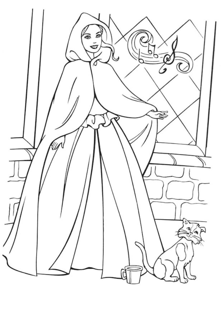 Раскраска В гостях у сказки распечатать | Барби