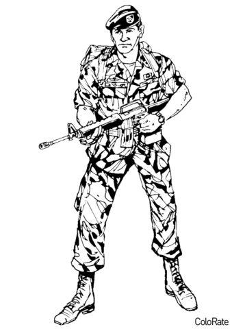 Разукрашка В камуфляже распечатать на А4 - Военные